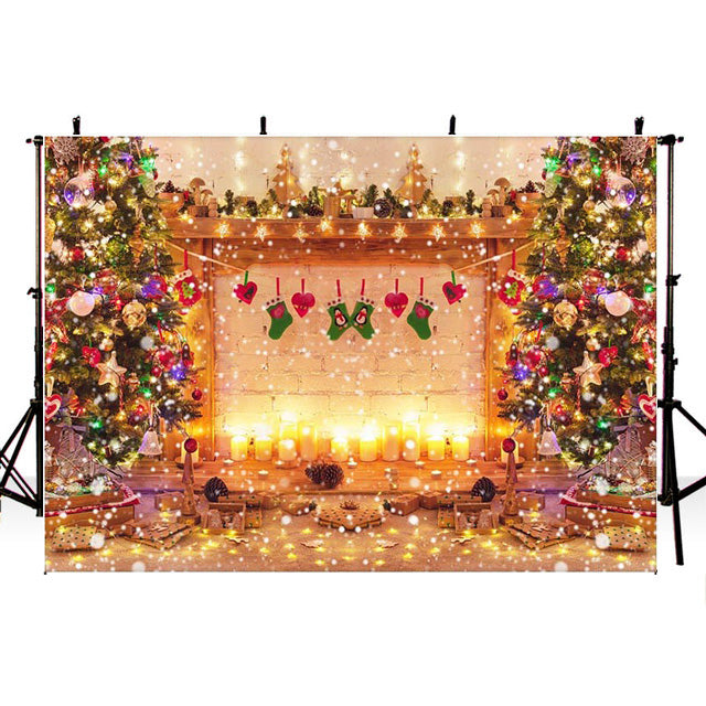 Christmas Tree Fireplace Background for Photo Studio Glitter Winter New Year Eve Party Decoration Baby Kids Portrait Backdrop