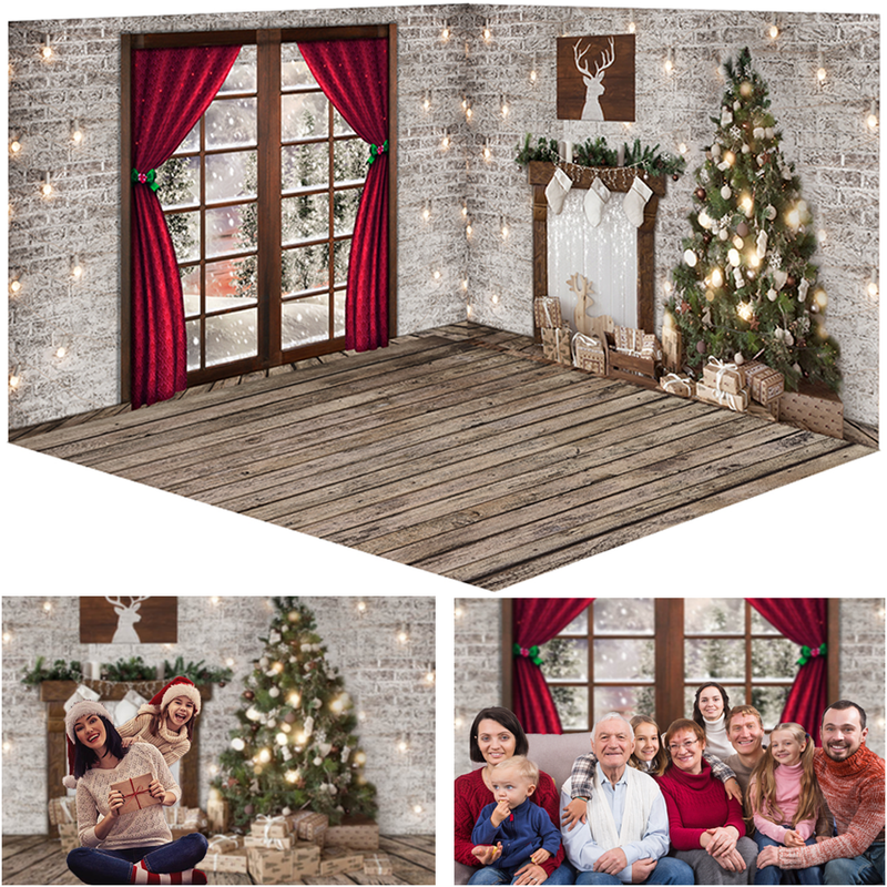 3 Style Christmas Window Snow Photography Backdrops White Brick Wall Red Curtains Family Portrait Photocall Background Photo Studio