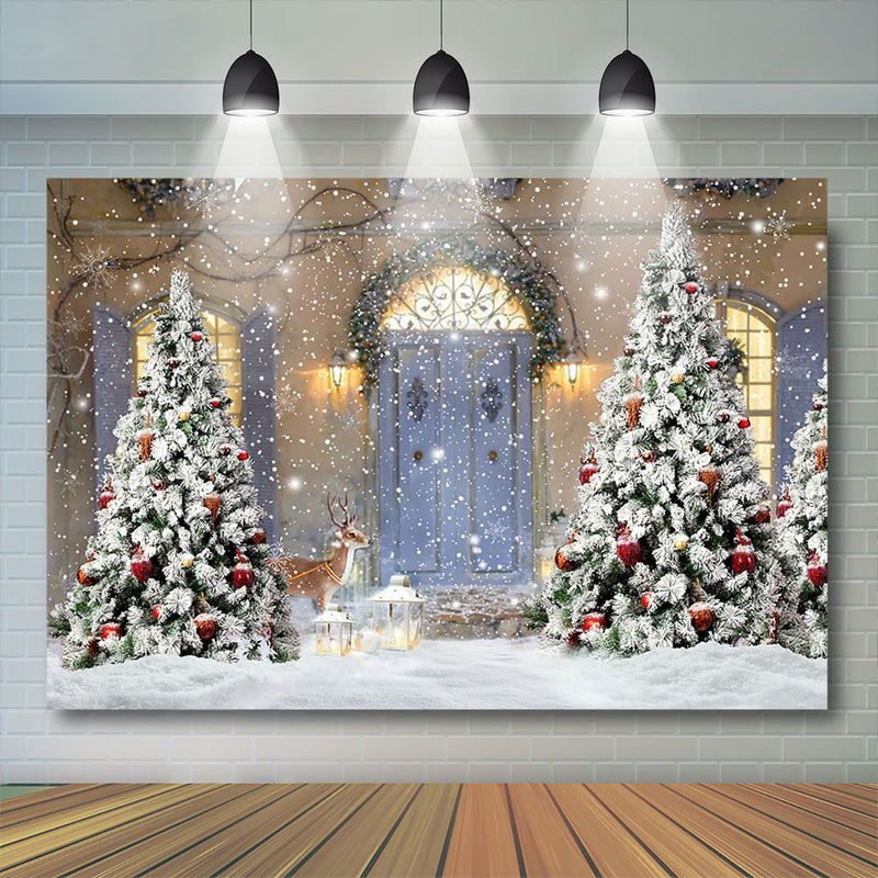 Merry Christmas Wood door Backdrop Snowflake Window Cloud Backdrop Family Christmas Trees Window Gift party Background Photo booth