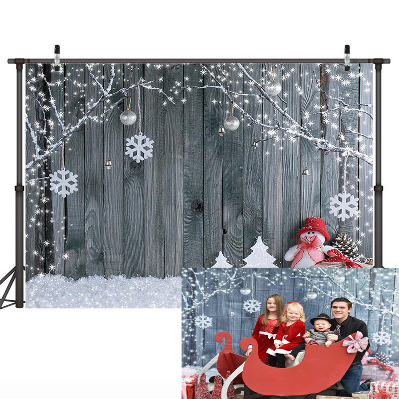 Christmas Backdrop Wood Board Winter Tree Snow Branch Snowman Reindeer Photography Background For Photo Studio Vinyl Photo Backdrops
