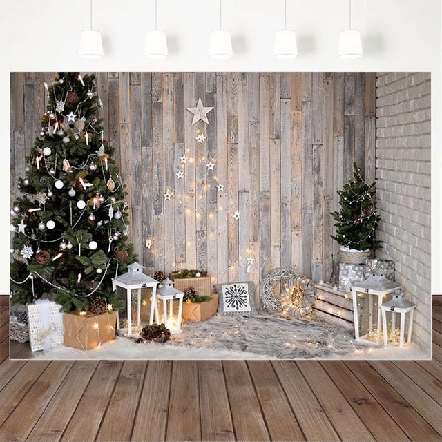 Christmas Backdrops for Wood Floor Photography Background Family Christmas Tree Decor Photocall Background Photo Studio Props