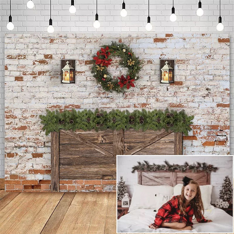 Christmas Headboard Backdrop for Dilapidated Brick Wall Christmas Wreath Decor Birthday Photographic Studio Photo Backgrounds