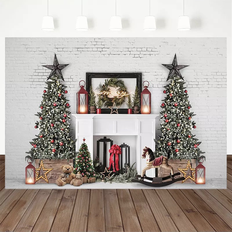 Christmas Photography Background Christmas Tree White Brick Wall Backdrop Fireplace Children Party Decoration Prop Banner Studio