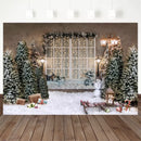 Christmas Photography Background Xmas Tree Sled Snowfield Backdrop French Windows Party Decoration Prop Banner For Photo Studio
