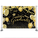Class Graduation Backdrop Congrats Grad Class of 2020 Celebration Party Decor Black and Gold Glitter Balloon Photo Background
