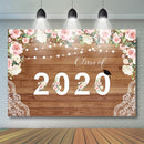 Class of 2020 Back to School Photography Backdrop Congrats Grad Floral Wood Background Celebrate Graduation Prom Party Decor Banner