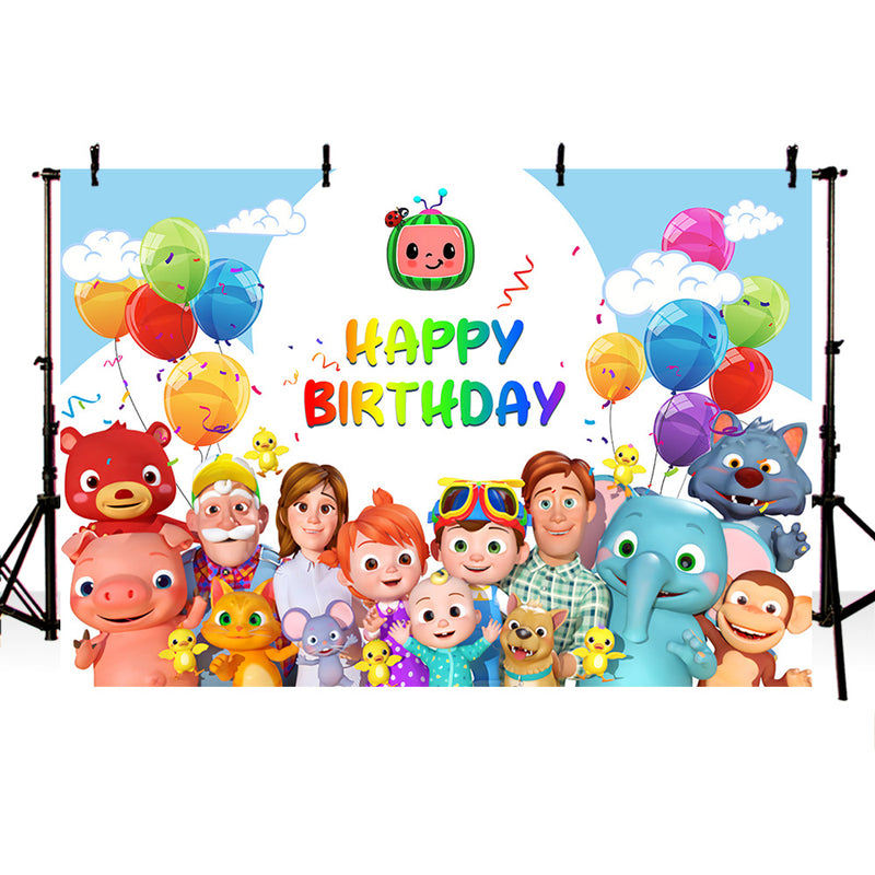Cocomelon Family theme Photo Backdrops Children Birthday party Photography Background for Photo Studio Banner kids balloons