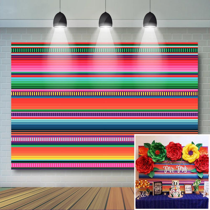 Colored Stripes Fiesta Backdrop Cinco De Mayo Mexican Festival Photography Background Fiesta Birthday Event Party Banner Decor