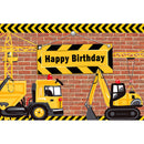 Construction Theme Birthday Party Backdrop Bricks Builder Dump Trucks Boy Birthday Party Banner Decoration Background Photobooth