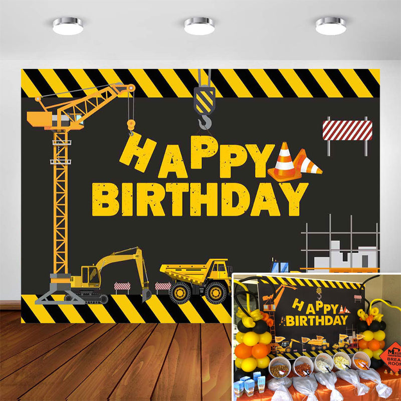 Construction Theme Birthday Party Photography Backdrop - Dump Truck Birthday Background Cake Table Boy Birthday Decorations