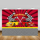 Racing Car Competition Themed Boy Birthday Backdrop Decor Cartoon Red Stripes Flags Children Happy Birthday Photo Background