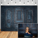 Dark Blue Retro Door Room Photography Backdrops for Wedding Birthday Portrait Photocall Background Photo Studio Props