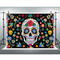 Day of The Dead Backdrop for Mexican Fiesta Sugar Skull Flowers Photography Background Dia DE Los Muertos Decoration Banner