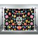 Day of The Dead Backdrop for Mexican Fiesta Sugar Skull Flowers Halloween Photography Background Dia DE Los Muertos Decorations Banner