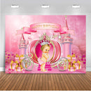Dream Castle Theme Little Princess Birthday Backdrop Fairy Tale Pumpkin Carriage Newborn Party Photo Background Pink Girl Gifts