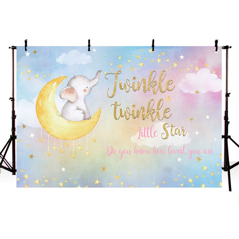 Twinkle Twinkle Little Star Backdrop for Picture Moon Baby Photo background Colorful Clouds Kids Party Banner Background Decor