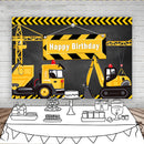 Excavator background for birthday Party Construction photograph Banner Decor Brick Wall Backdrop Dump Truck Boy photo studio pro