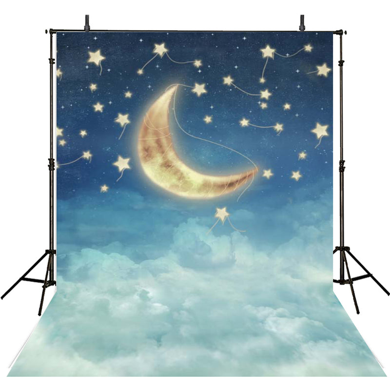 starry night backdrop for baby shower photo backgrounds stars and moon 8x10 photo booth props night sky for girls twinkle twinkle little star backdrop decorations gender reveal backdrop night under the stars backdrop sway stars and clouds photo backdrops