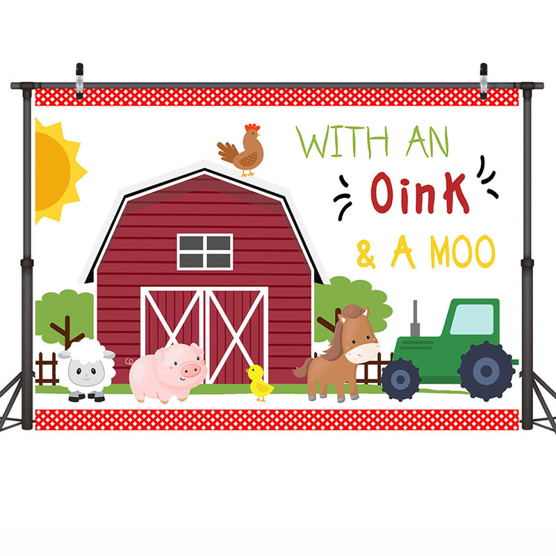 Farm Birthday Backdrop Farm Animals Barnyard Children Birthday Party Banner Decorations Photo Background Red Warehouse
