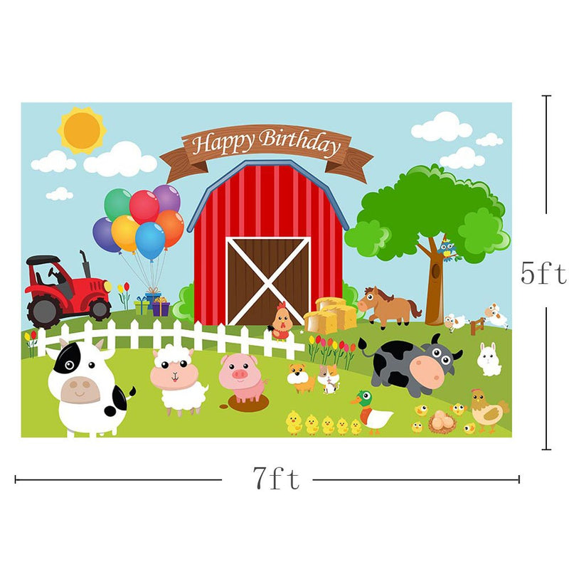 Cartoon Farm Theme Barn Domestic Animals Rustic Happy Birthday kids Banner Photo Background Child Party Decoration Ideas