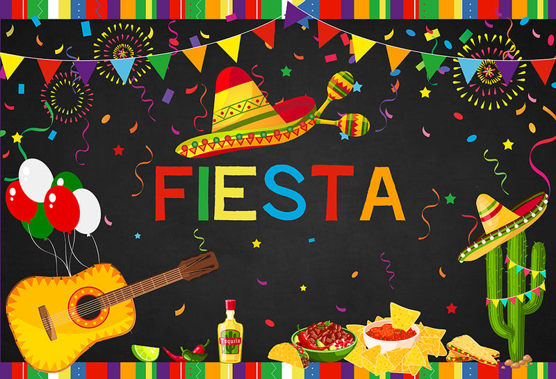 Fiesta Party background Cowboy Balloon Mexico Firework Backdrop Guitar Backgrounds cactus Banquet Chili Backdrops