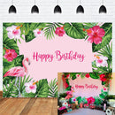 Flamingo Backdrop Tropical Pink Flamingo Birthday Monstera Leaf Photo Background Summer Aloha Party Let's Flamingo Photography