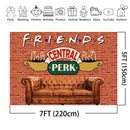 Friends Central Perk Pub Backdrop Red Brick Wall Sofa Coffee Shop Background Friends Themed Birthday Party Photo Booth Backdrops