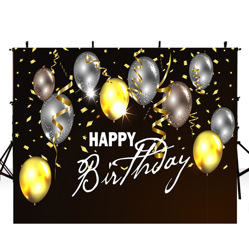 Happy birthday photo backdrops balloons party photo booth props for birthday balloons photography backdrop for kids background for photo happy birthday black golden Ribbon