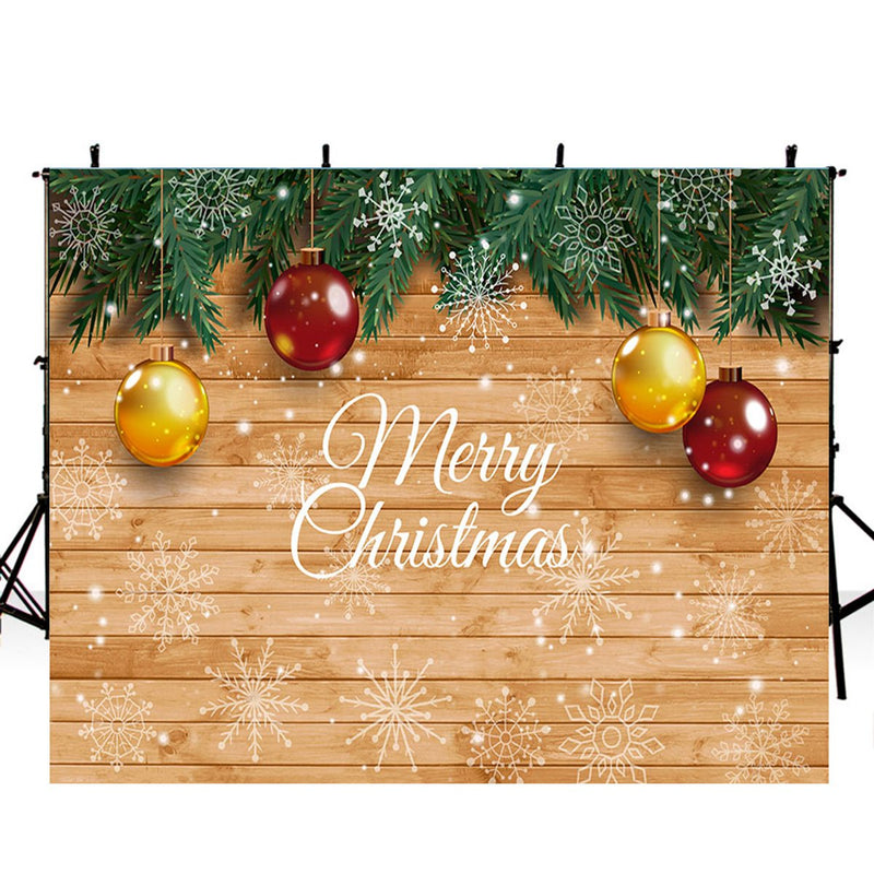 christmas photo backdrop with wood floor 12ft photography background new year large photo booth props Merry Xmas backdrops winter snowflake