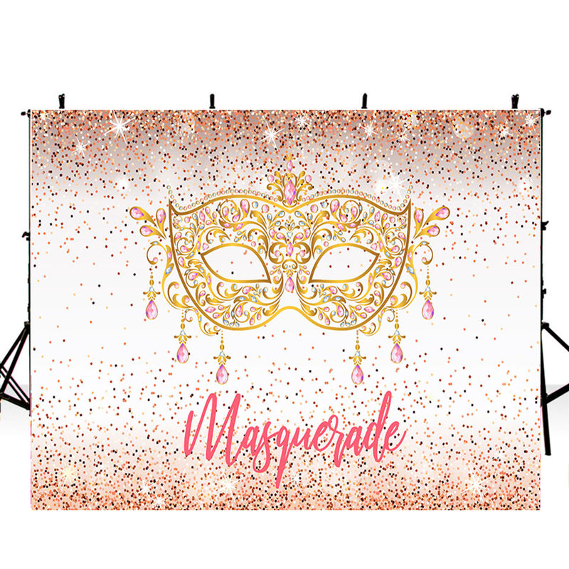 Masquerade photo backdrops bridal shower photo booth props for woman party photo backdrop background for photo studio Sparkle golden Mask backdrops for photographer