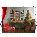 merry christmas photo backdrop christmas trees 8ft photography background interior large photo booth props Merry Xmas backdrops gifts for kids