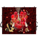 Happy birthday photo backdrops red rose flowers customized birthday photo booth props for woman birthday photo backdrop sexy gold heel background for photo happy 30th birthday