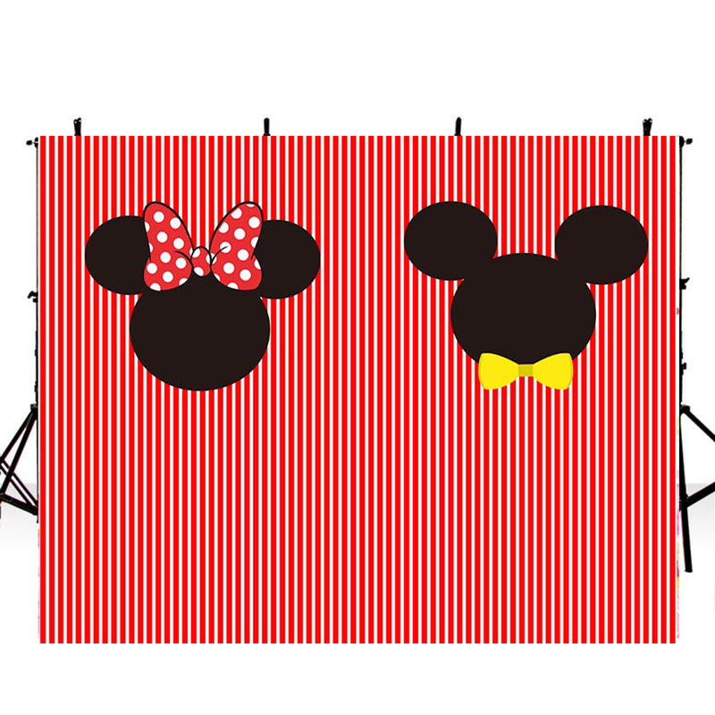 kids birthday photo backdrops Mickey Mouse customized birthday photo booth props for children red and white stripes photo backdrop streaks background for photo