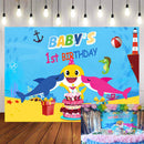 Baby's 1st Birthday Party Backdrop Vinyl Photography Background Undersea World Cartoon Baby Whale Backdrop Shark Starfish Yellow Pink Blue Color Cake Gifts Birthday Decoration Children