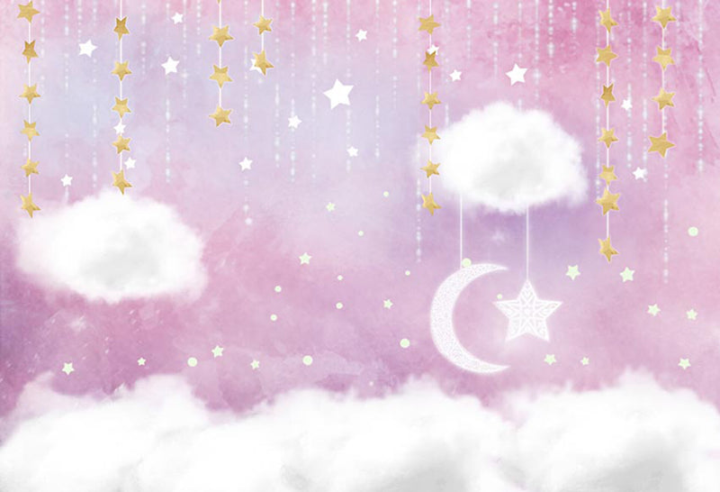 twinkle twinkle little star photo backdrops happy birthday customized birthday photo booth props for baby shower clouds birthday photo backdrop stars moon pink background for photo happy birthday