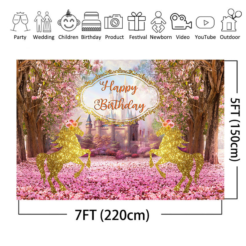 Happy Birthday Photo Background Pink Flowers for Girls Birthday Party Decoration Castle Golden Horse Backdrop for Photography Studio
