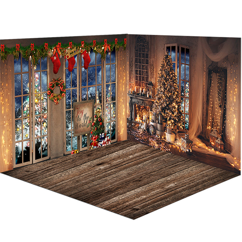 Christmas Fireplace Photography Background Christmas Tree Backdrop Decoration