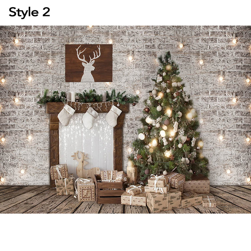 Christmas Window Snow Photography Backdrops White Brick Wall Red Curtains Family