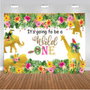 Wild One Photography Backdrop Baby Newborn Birthday Party Background Flowers Leaves Golden Kids Banner Decoration for Photo Studio