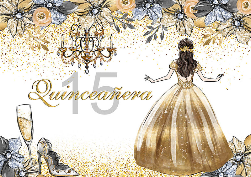 Quinceanera Party Photography Backdrop 15th Girls Birthday Party Banner Background Champagne Heels Adult Ceremony Decoration for Photo Studio