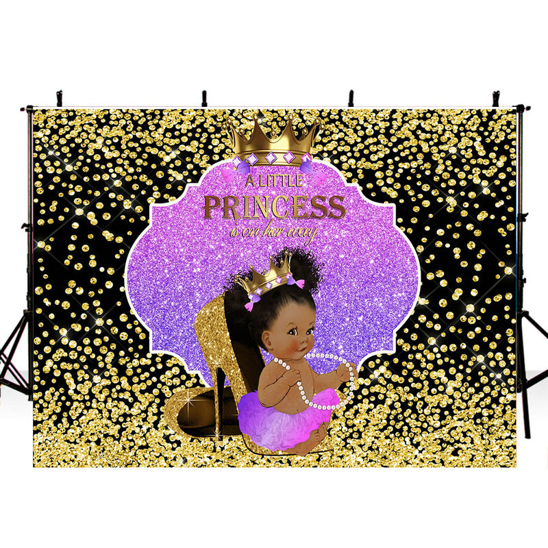 Georgian Baby Shower Party Photography Backdrop A Little Princess Birthday Party Banner Background Black Golden Glitter Newborn Banner Decoration for Photo Studio