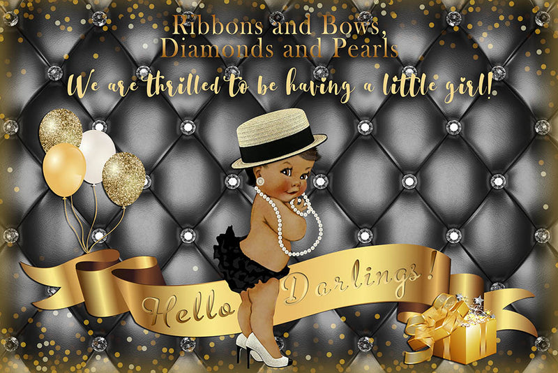 Georgian Baby Shower Party Photography Backdrop Personalized Name Birthday Party Banner Background Black Golden Newborn Banner Decoration for Photo Studio