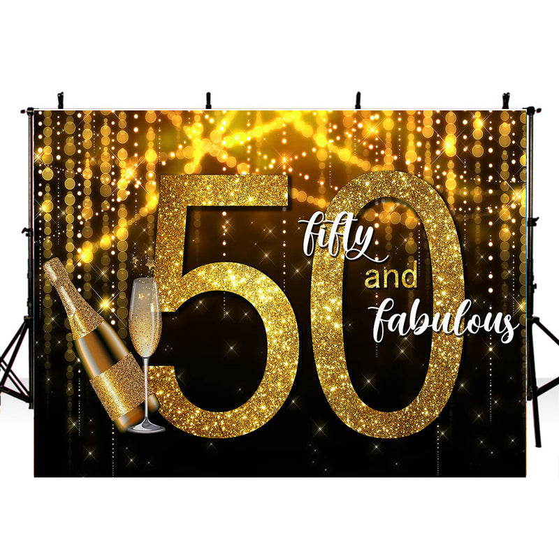 Women 50th Birthday Party Photography Backdrop Personalized Birthday Party Banner Background Black Golden Shine Twinkle Banner Decoration for Photo Studio
