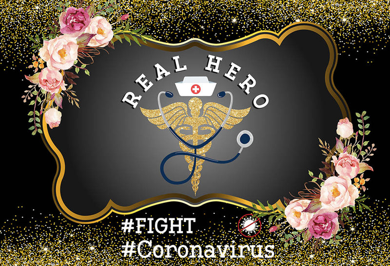 Fight Coronavirus Photography Backdrop Personalized Letters Banner Background Real Hero Hospital Events Banner Decoration for Photo Studio