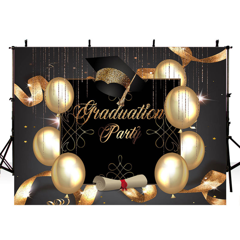 Class of 2020 Graduation Party Photography Backdrop Personalized Graduation Ceremony Banner Background Mortarboard Balloons Ribbon Decoration for Photo Studio