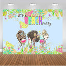 Summer Beach Party Photography Backdrop Girls Birthday Banner Background Hawaiian Luau Decoration for Photo Studio