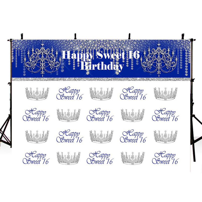 Sweet 16 Photography Backdrop Quinceanera Prom Party Banner Background Sliver Crown Birthday Decoration for Photo Studio