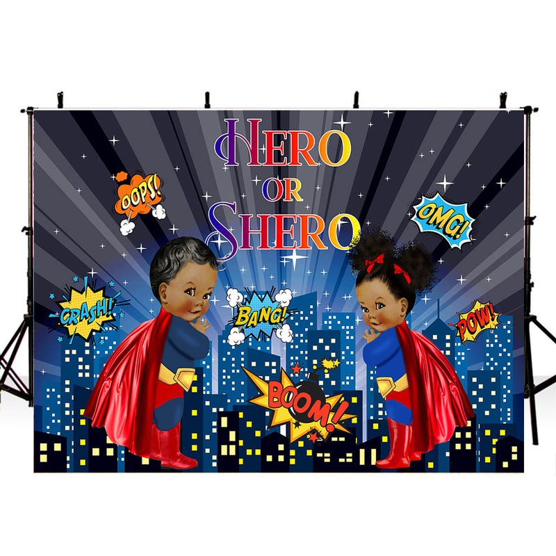 Superhero Photography Backdrop Boy and Girls Birthday Banner Background Personalized Kids Birthday Decoration for Photo Studio