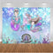 Little Mermaid Party Photography Backdrop Ariel Dazzles Girls 1st Birthday Banner Background Baby Shower Decoration for Photo Studio