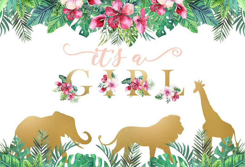 One Wild Photography Backdrop Girls Birthday Banner Background Jungle Safari Baby Shower Decoration for Photo Studio